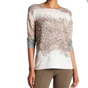 Nic+Zoe Leopard Dyed Knitted Crewneck Long Sleeve